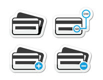 Credit Card, CVV code icons as labels set Royalty Free Stock Photography