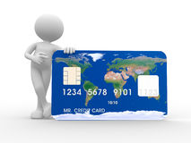 Credit card. 3d people - man, person with a credit card Stock Photography