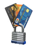 Credit card data security concept. Cards and lock  on wh. Ite. 3d Royalty Free Stock Photography