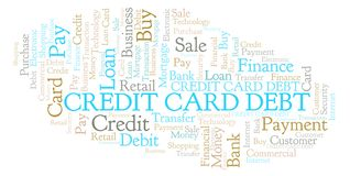 Credit Card Debt word cloud. Wordcloud made with text only vector illustration