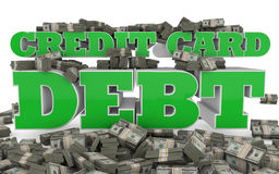 Credit Card Debt. The words Credit Card Debt rendered in 3D with bundles of american currency Royalty Free Stock Photos