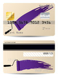 Credit card design with paint roller Royalty Free Stock Images