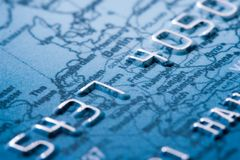 Credit card detailed 1. Credit card detailed, shallow DOF, focus on digit 4 Royalty Free Stock Image