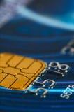 Credit card digits close-up. Stock Photos