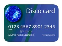 Credit card disco blue Royalty Free Stock Image