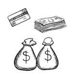 Credit card, dollar bills and money bags Stock Photos