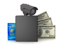 Credit card, dollar bills, wallet and monitoring camera Stock Images