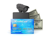 Credit card, dollar bills, wallet and monitoring camera Royalty Free Stock Photos