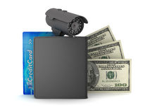 Credit card, dollar bills, wallet and monitoring camera Stock Photo