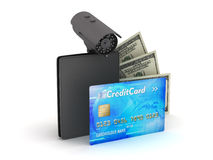 Credit card, dollar bills, wallet and monitoring camera Royalty Free Stock Images