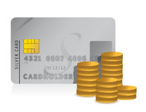 Credit card and dollar coins illustration design. On white Royalty Free Stock Images