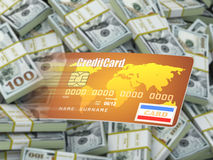 Credit card on dollar packs background. Royalty Free Stock Image
