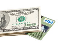 Credit card and dollars Stock Image