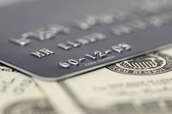 Credit card and dollars with s. Hallow depth  of field Stock Photography