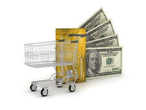 Credit card, dollars and shopping cart Stock Photo