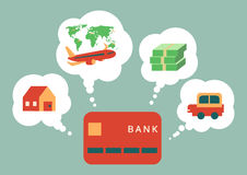 Credit card dream to house, travel, money and car, vector. Illustration Stock Image