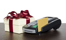 Credit card reader. Credit card eader machine and gift box , isolated on white background Stock Image