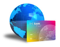 Credit card and Earth globe. Banking concept: credit card and Earth globe isolated over white background Stock Photo