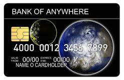 Credit card with earth and moo Royalty Free Stock Photography