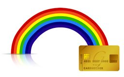 Credit card at the end of the rainbow Stock Image