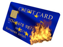 Credit card Euro. Credit Card of the European Union in the fire on a white background Royalty Free Stock Photography