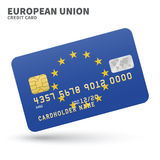 Credit card with European Union flag background Royalty Free Stock Photo