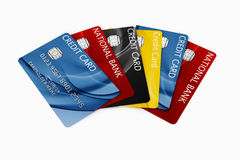 Credit card fanned out. 3d rendering of credit cards fanned out Stock Images