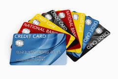 Credit card fanned out. 3d rendering of credit cards fanned out Royalty Free Stock Photography