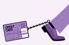 Credit card fetters. Bank may arrest a person for a debt on a credit card Stock Photo