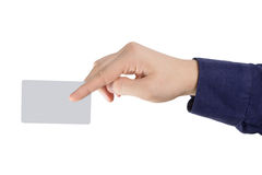 Credit card in fingers Stock Photo