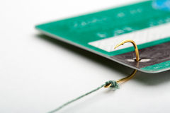 Credit card on a fishing hook Stock Photos