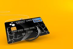 Credit card with fishing hook. Isolated on orange background. 3d illustration Royalty Free Stock Photos