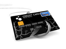 Credit card with fishing hook. On white background Stock Photo