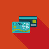 Credit card flat icon with long shadow. Cartoon vector illustration vector illustration