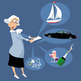 Credit card fraud. Shocked elderly woman looking at a financial statement listing luxury items purchasing as a result of a fraud, EPS 8 vector illustration vector illustration