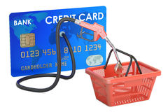Credit card with fuel pump nozzle and shopping basket, 3D render Stock Photography