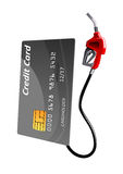 Credit card with gas pump nozzle. Gray credit card with gas pump nozzle, isolated on white background. For financial or oil concept themes Royalty Free Stock Images