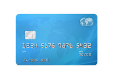 Credit Card. Generic Credit/Debit Card with world map on the background and corporate colours of grey and blue. Isolated on a white background with clipping path Royalty Free Stock Photos