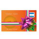 Credit card on a gift Stock Photo