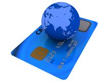 Credit card and globe Royalty Free Stock Images