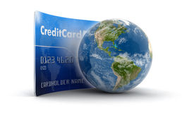 Credit Card and Globe (clipping path included) Royalty Free Stock Photography