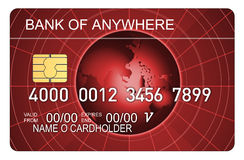Credit card globe red Stock Image