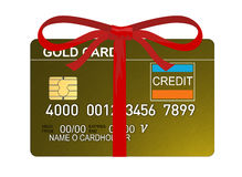 Credit card gold with bow Stock Photo
