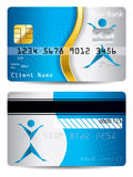 Credit card with gold wave and origami person Stock Photo