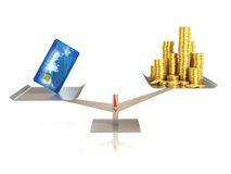 Credit card and golden coins on balance scale. 3d Stock Photo