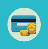 Credit card and golden coins flat design Stock Image