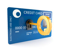 Credit card with golden key Stock Image