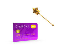 Credit card and golden magic wand. Stock Images