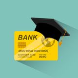 credit card with graduation hat Royalty Free Stock Images