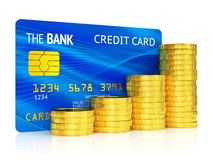 Credit card and graph of coins Royalty Free Stock Image